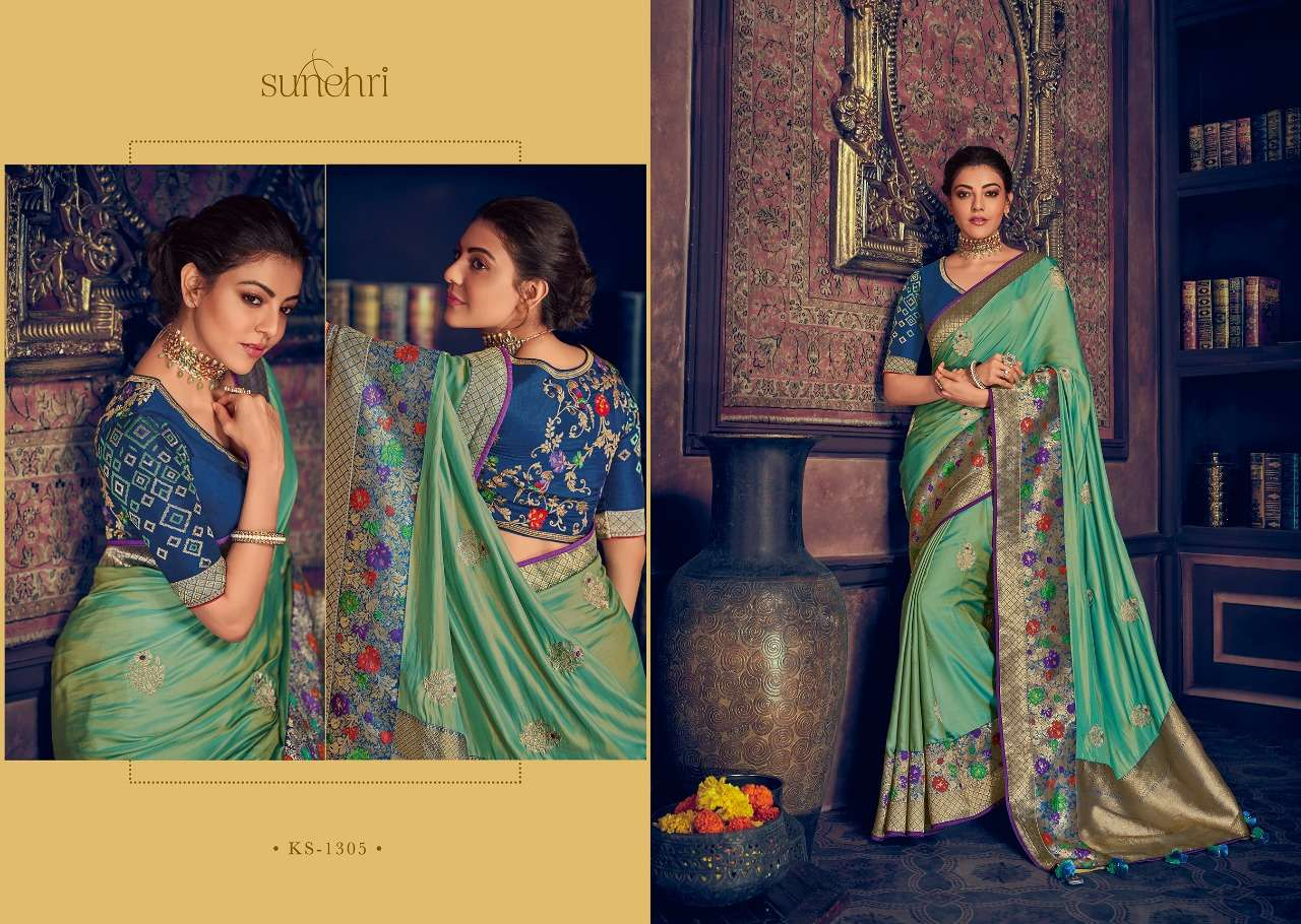 Kimora Fashion Sunehri Vol 13 Heavy Designer Silk With Embroidery Work Sarees Collection  05