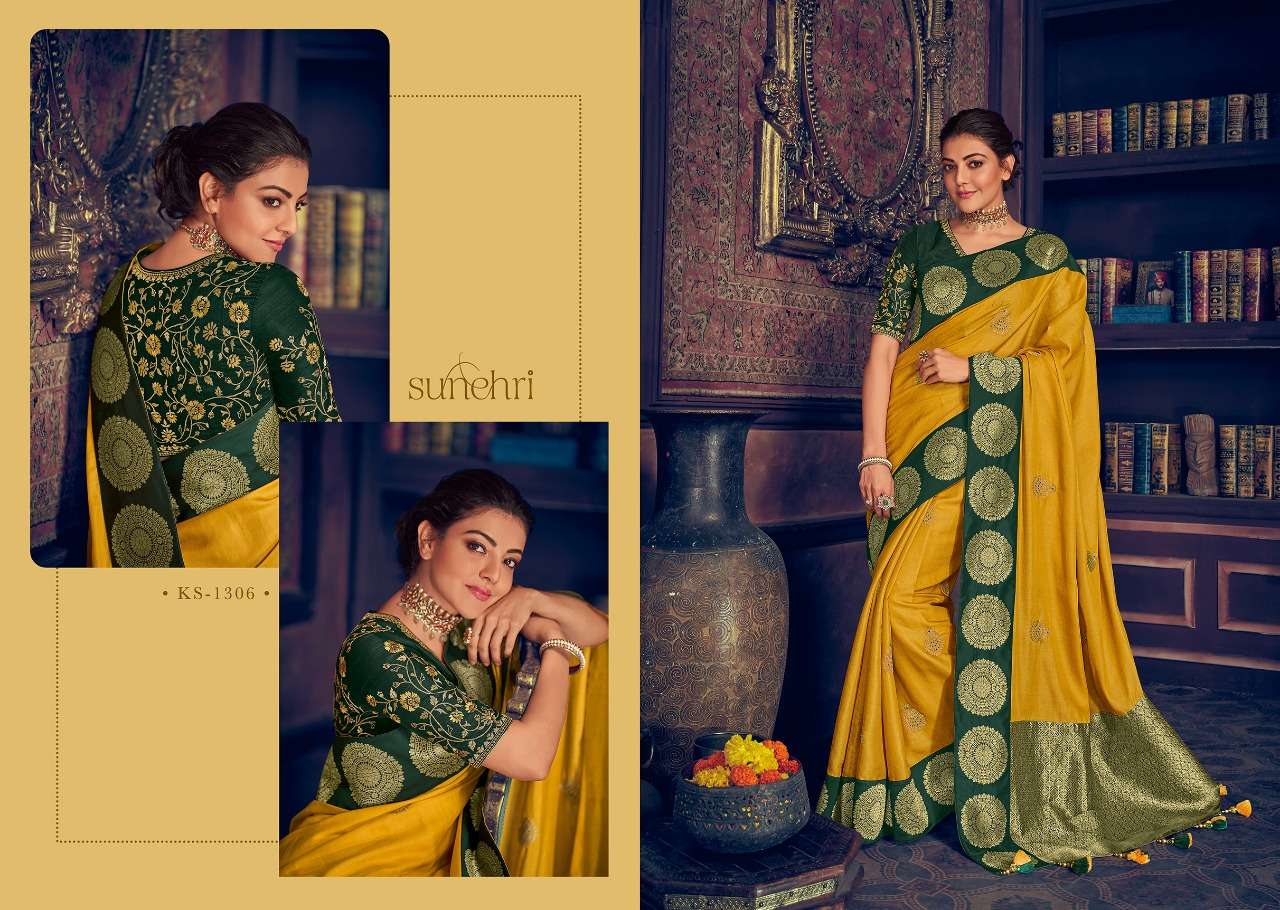 Kimora Fashion Sunehri Vol 13 Heavy Designer Silk With Embroidery Work Sarees Collection  06