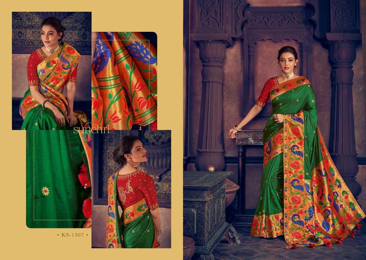 Kimora Fashion Sunehri Vol 13 Heavy Designer Silk With Embroidery Work Sarees Collection  07