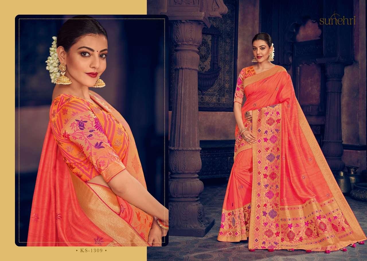 Kimora Fashion Sunehri Vol 13 Heavy Designer Silk With Embroidery Work Sarees Collection  09