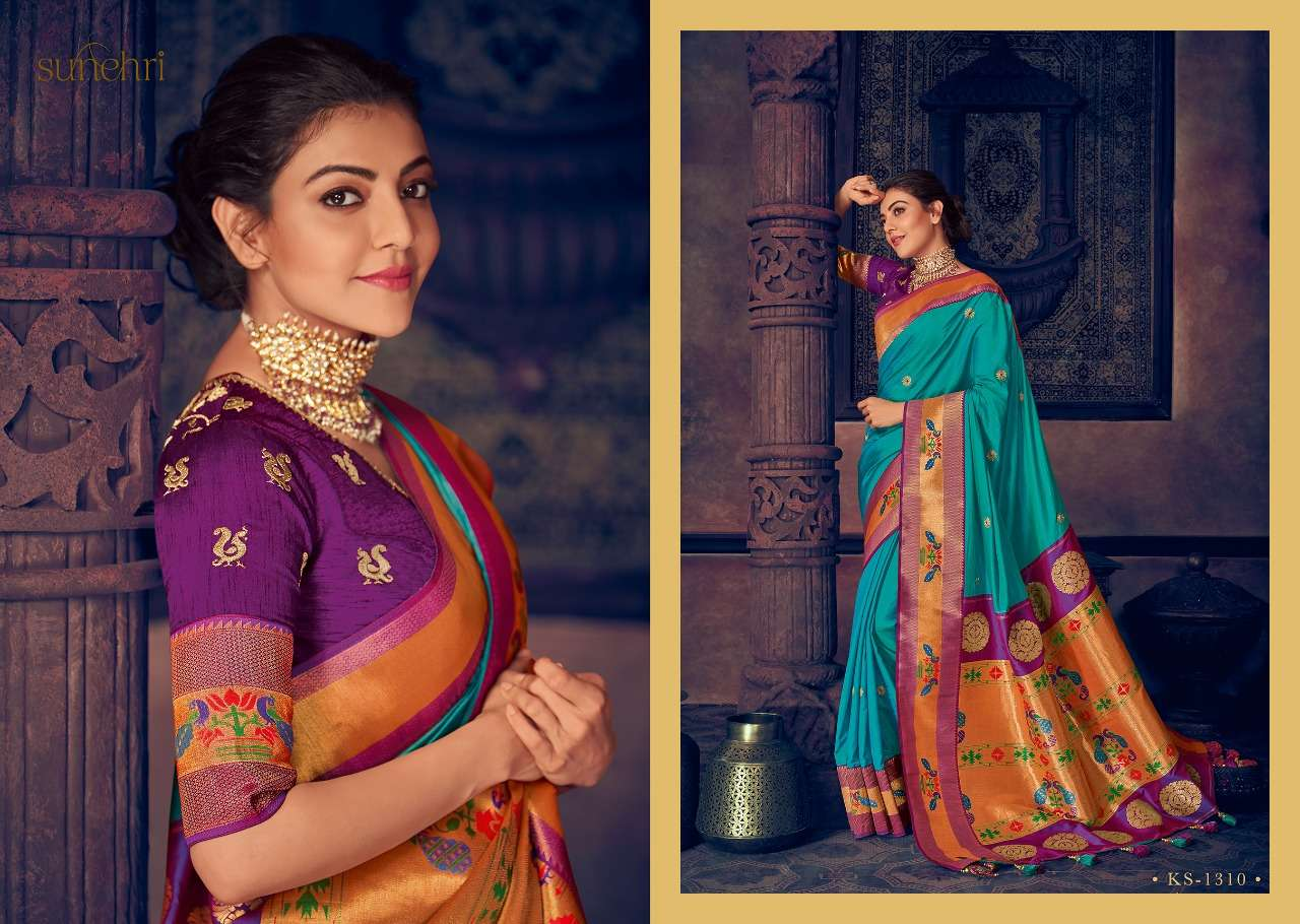 Kimora Fashion Sunehri Vol 13 Heavy Designer Silk With Embroidery Work Sarees Collection  11
