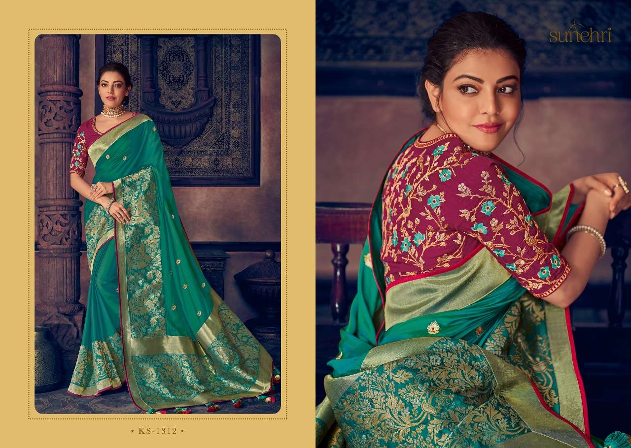 Kimora Fashion Sunehri Vol 13 Heavy Designer Silk With Embroidery Work Sarees Collection  12