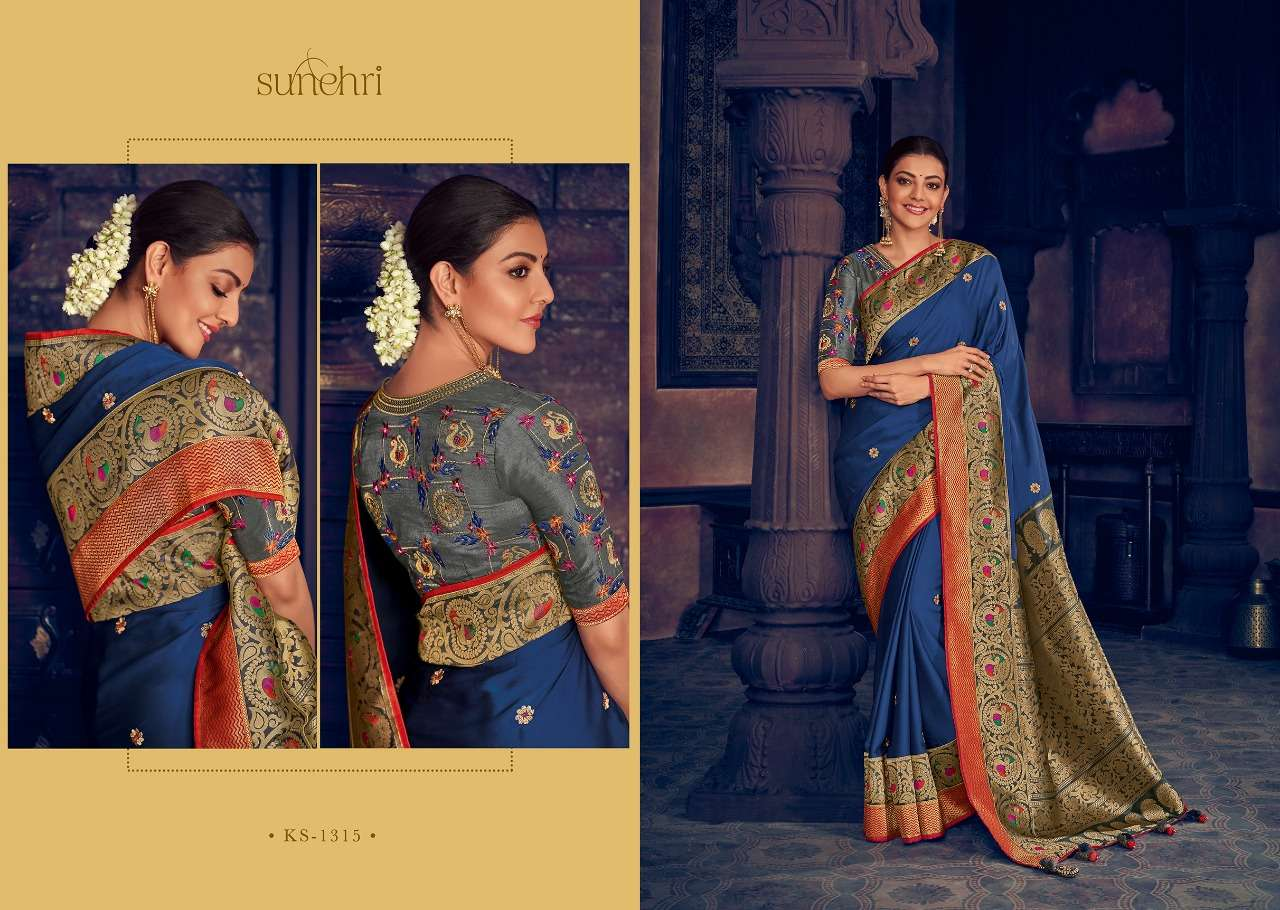 Kimora Fashion Sunehri Vol 13 Heavy Designer Silk With Embroidery Work Sarees Collection  15