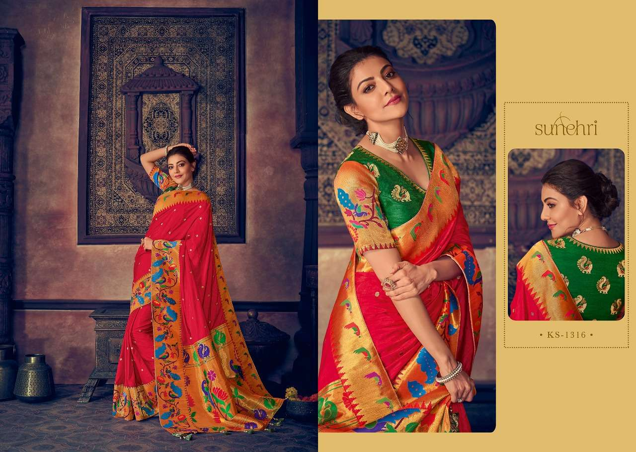 Kimora Fashion Sunehri Vol 13 Heavy Designer Silk With Embroidery Work Sarees Collection  16
