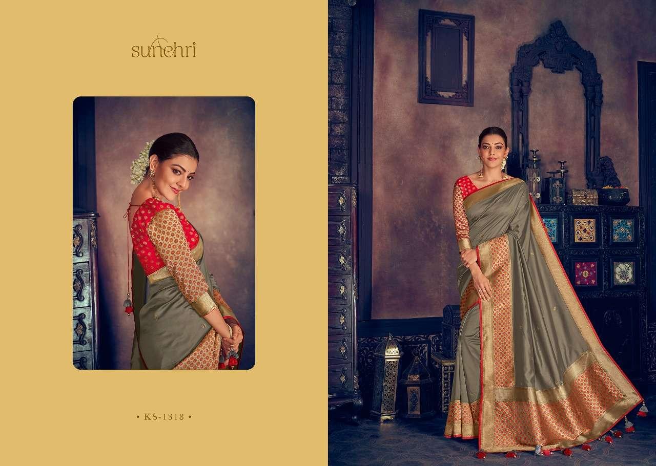 Kimora Fashion Sunehri Vol 13 Heavy Designer Silk With Embroidery Work Sarees Collection 18