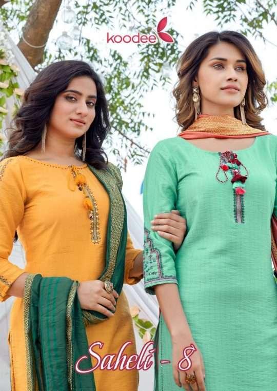 Koodee Saheli Vol 8 Pure Nylon Viscose With Stripe With fancy embroidery Work Salwar Kameez