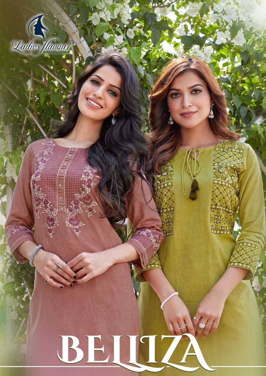 LADIES FLAVOUR BELLIZA HEAVY RAYON FLEX WITH EMBROIDERY WORK KURTI WITH PANT COLLECTION