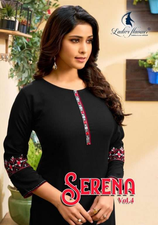 Ladies Flavour Serena Vol 4 Rayon With Embroidery Work Kurtis Collection