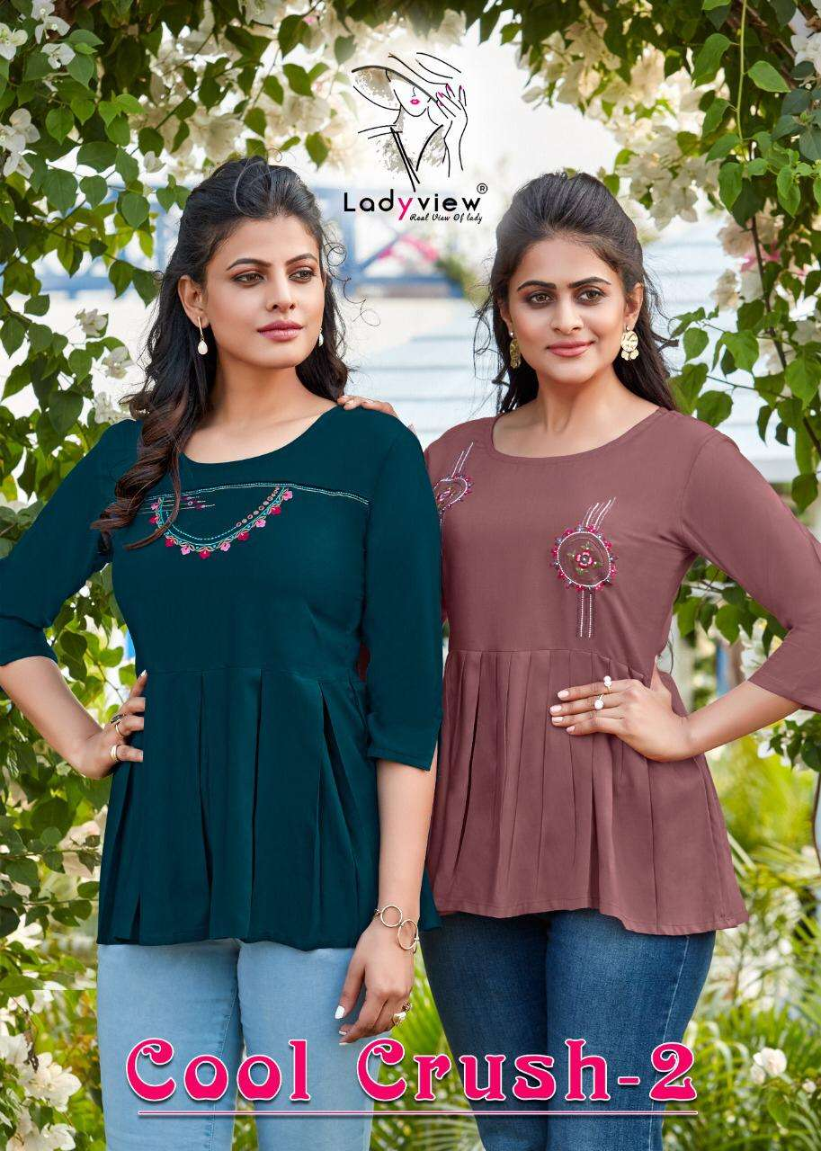 Ladyview Cool Crush Vol 2 Heavy Rayon With Embroidery Work Western Tops Collection