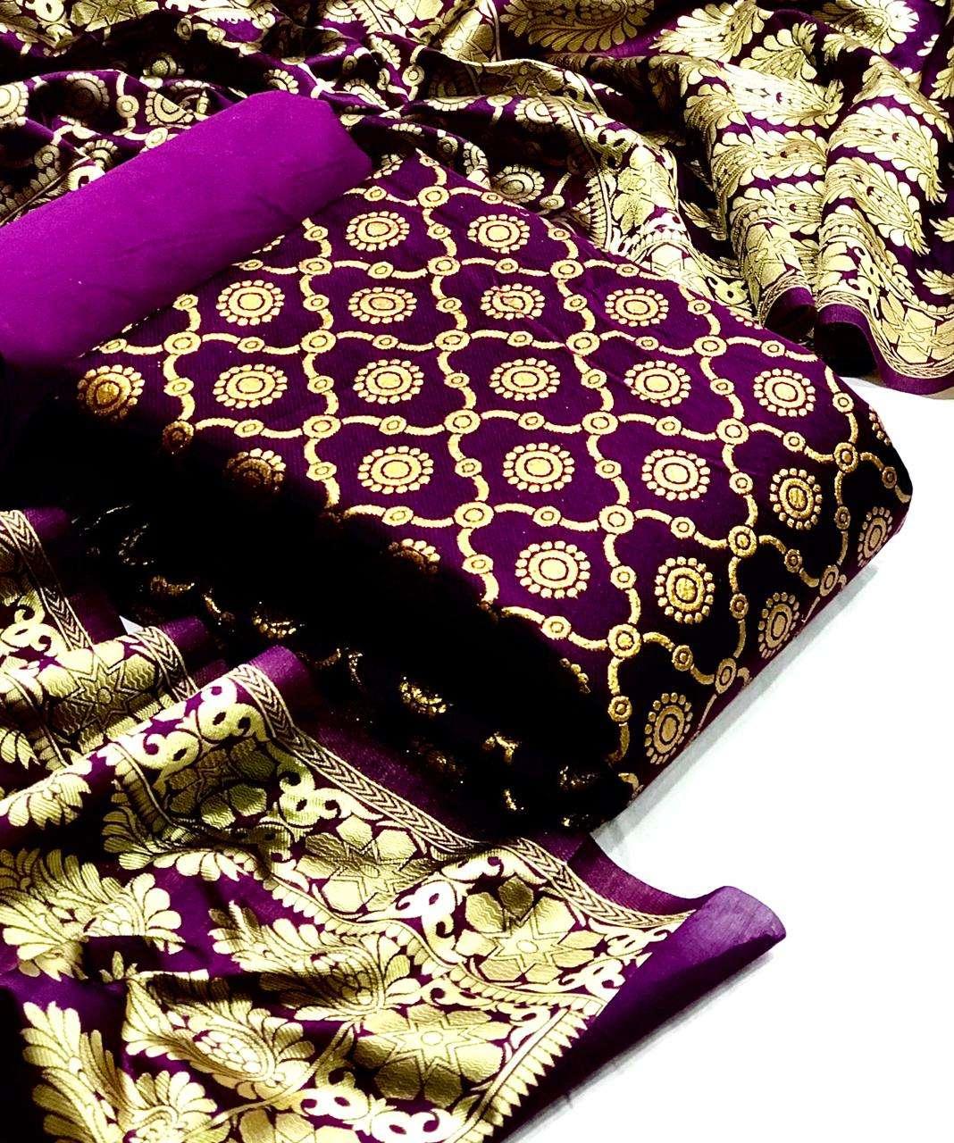 Latest Banarasi Silk Matka With Jacquard Weaving Dupatta Suits Collection