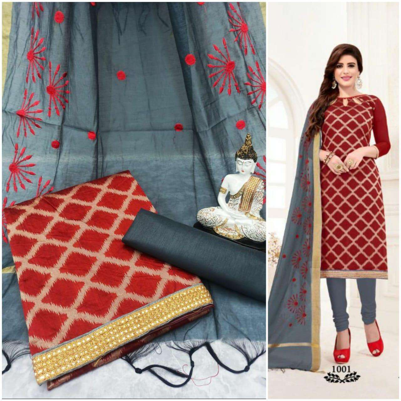 Latest Chanderi Jacquard With Work Dupatta Dress Material Collection