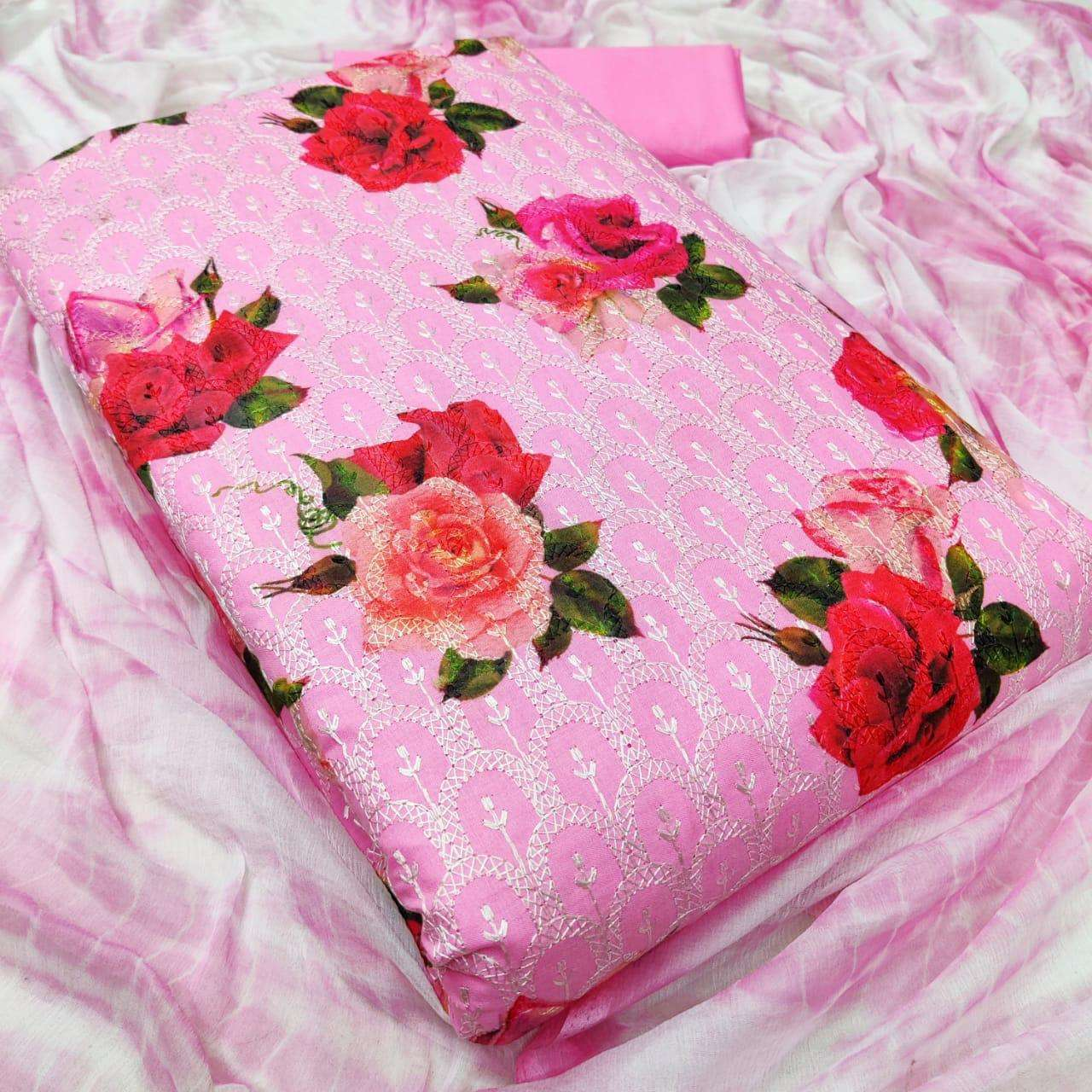 Latest Cotton Print With Embroidery Work Dress Material Collection 02