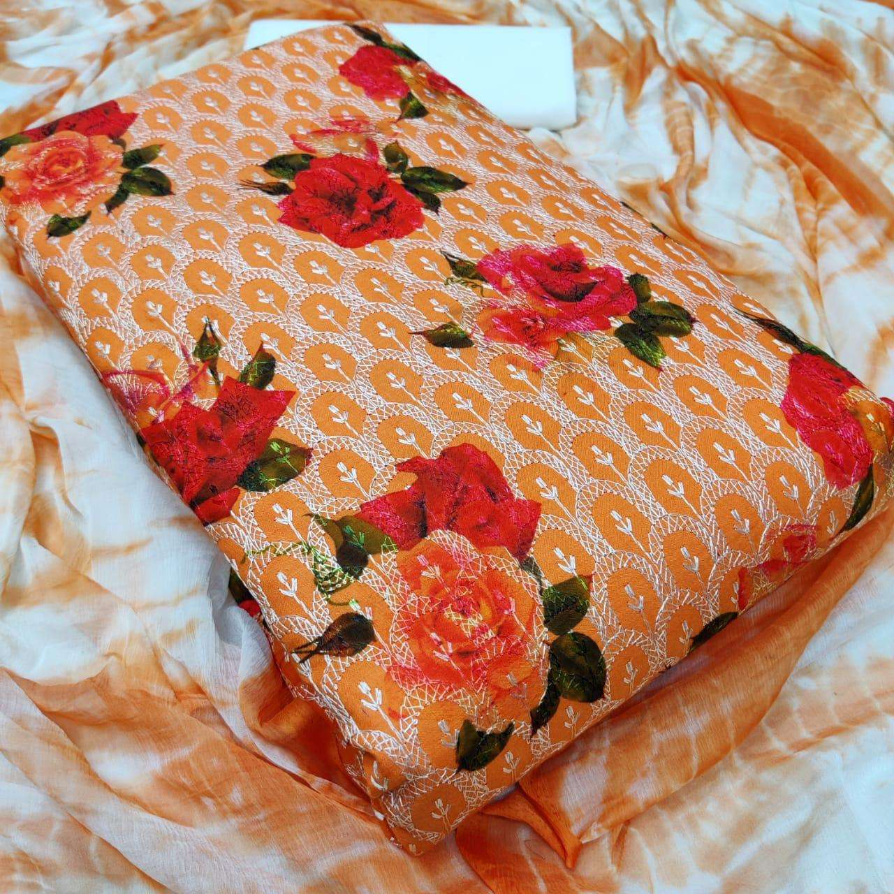 Latest Cotton Print With Embroidery Work Dress Material Collection 04