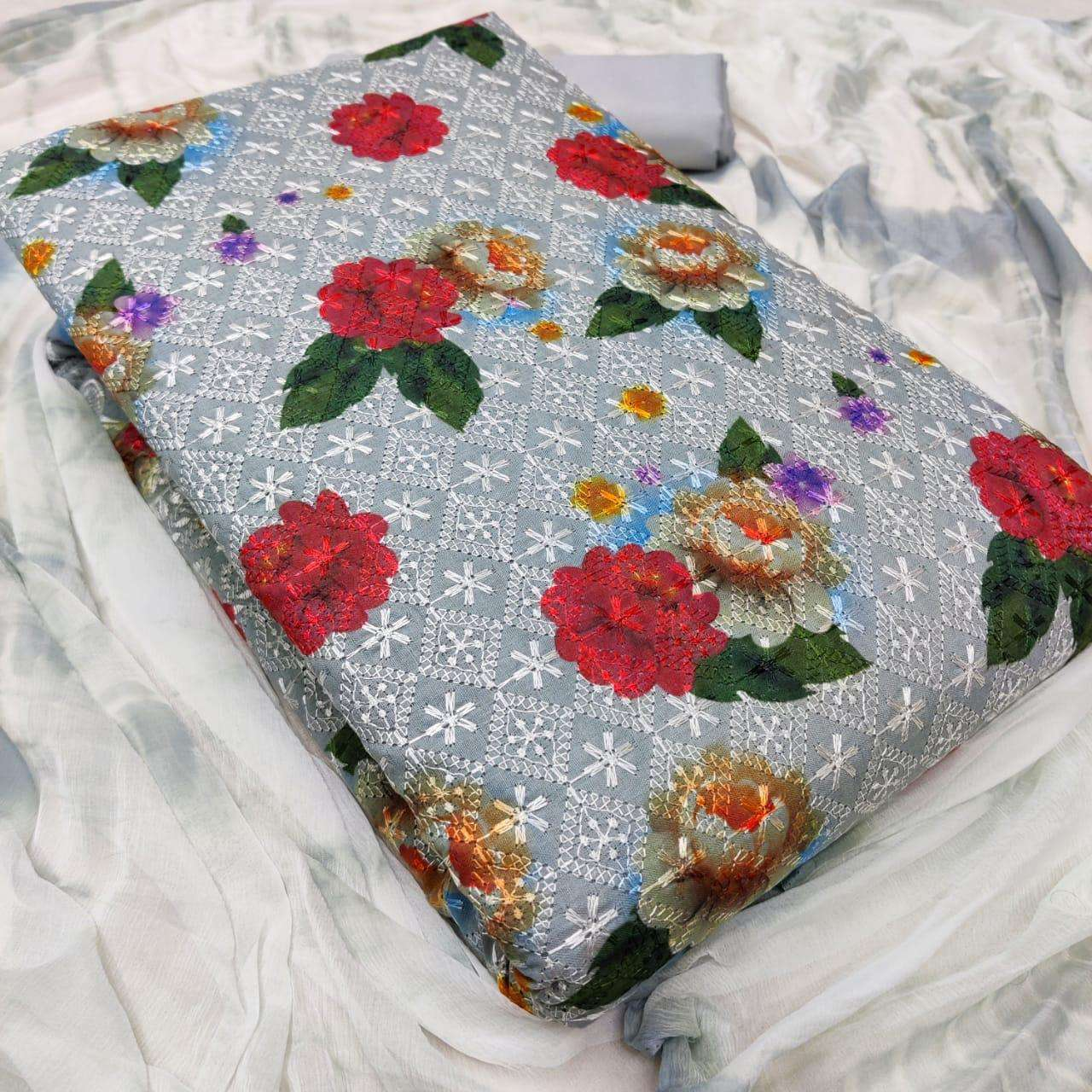 Latest Cotton Print With Embroidery Work Dress Material Collection 05