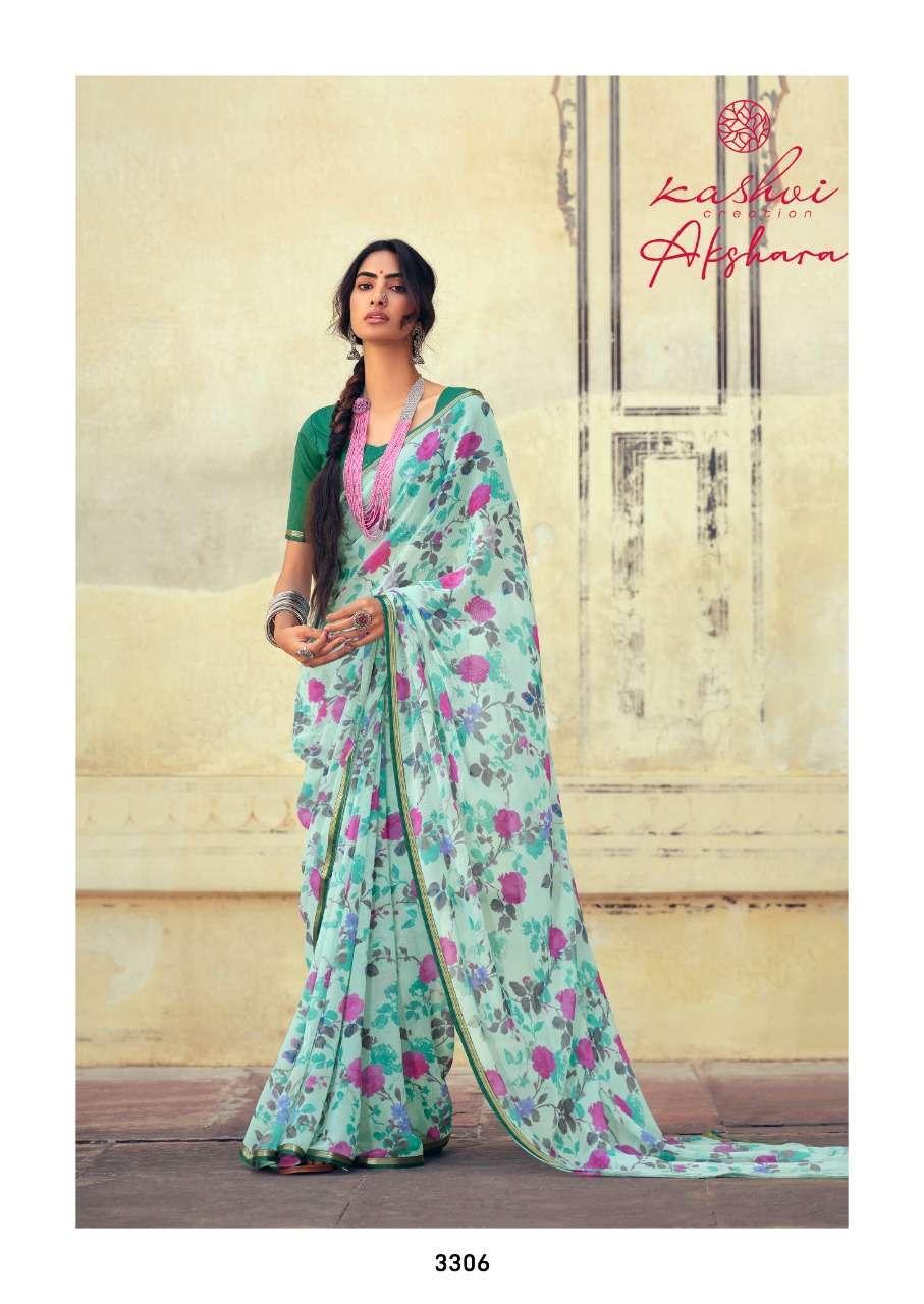 Lt Fabrics Kashvi Akshara Chiffon Printed Regular Wear Sarees Collection 01