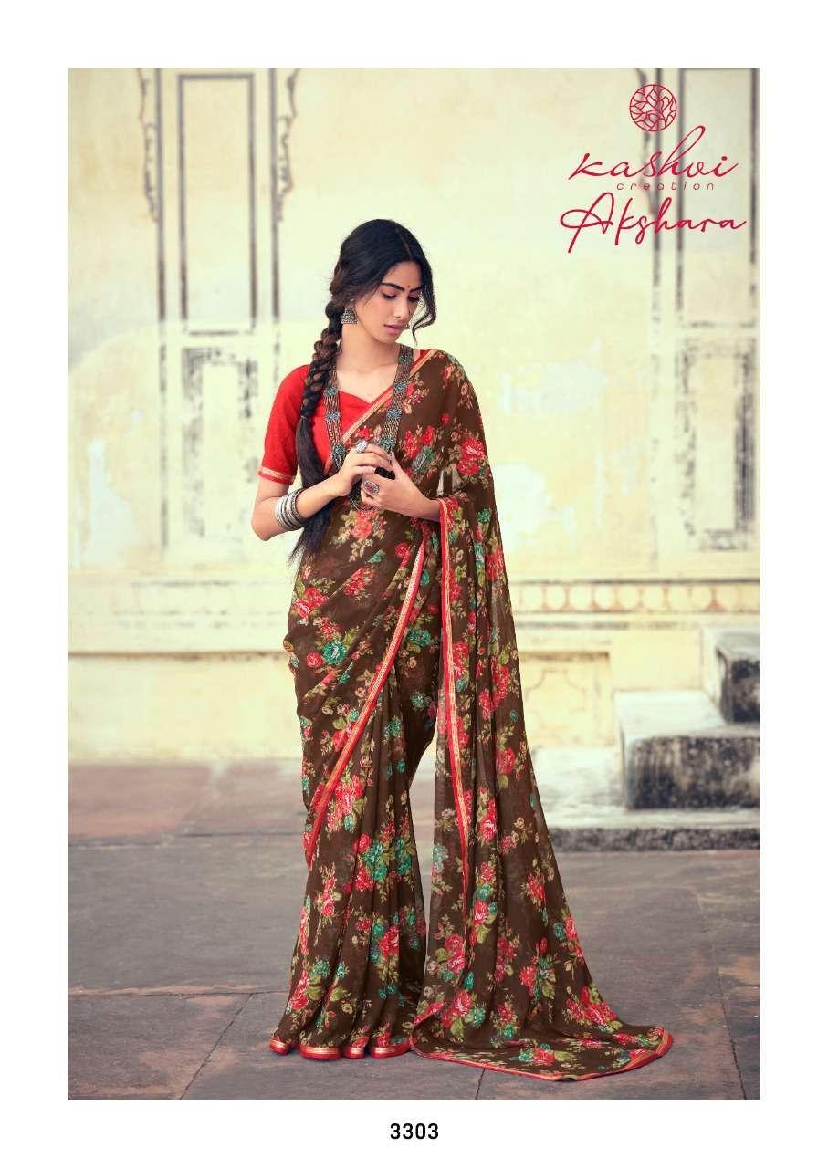 Lt Fabrics Kashvi Akshara Chiffon Printed Regular Wear Sarees Collection 04
