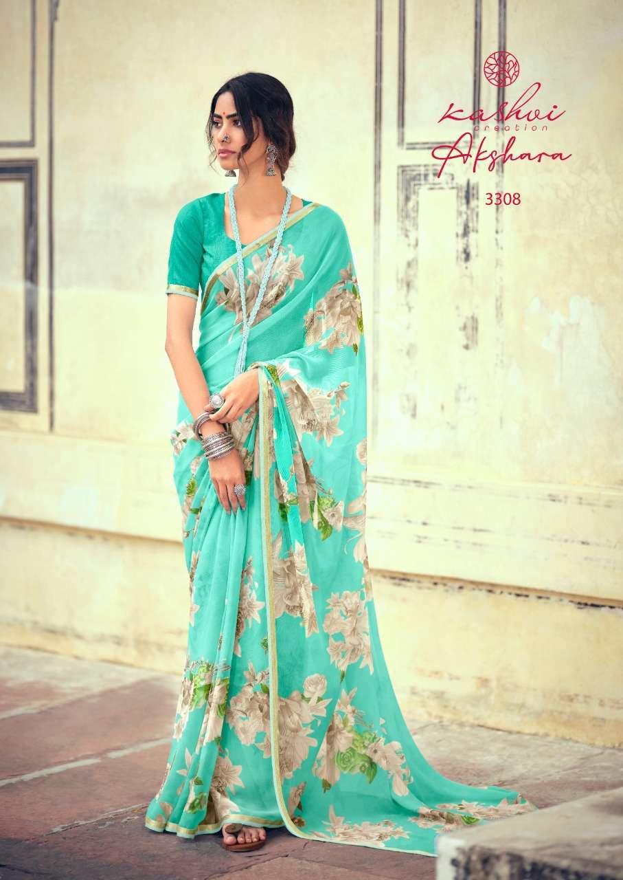 Lt Fabrics Kashvi Akshara Chiffon Printed Regular Wear Sarees Collection 06