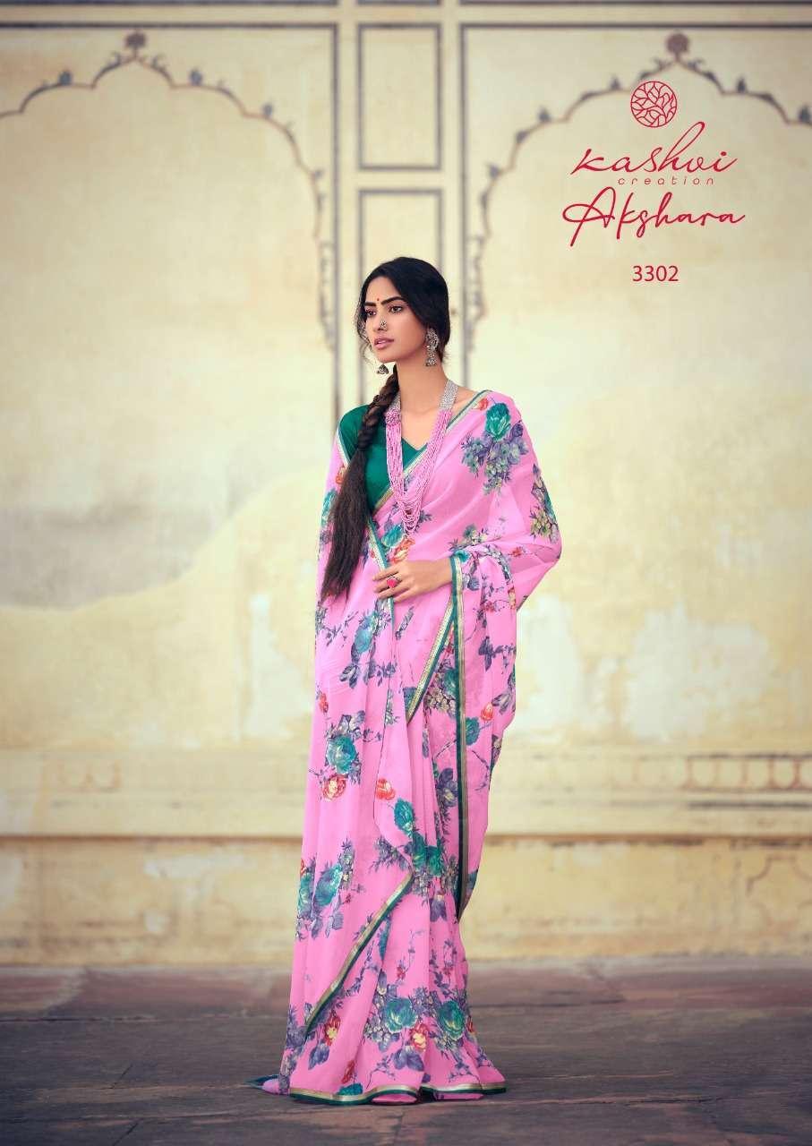 Lt Fabrics Kashvi Akshara Chiffon Printed Regular Wear Sarees Collection 09