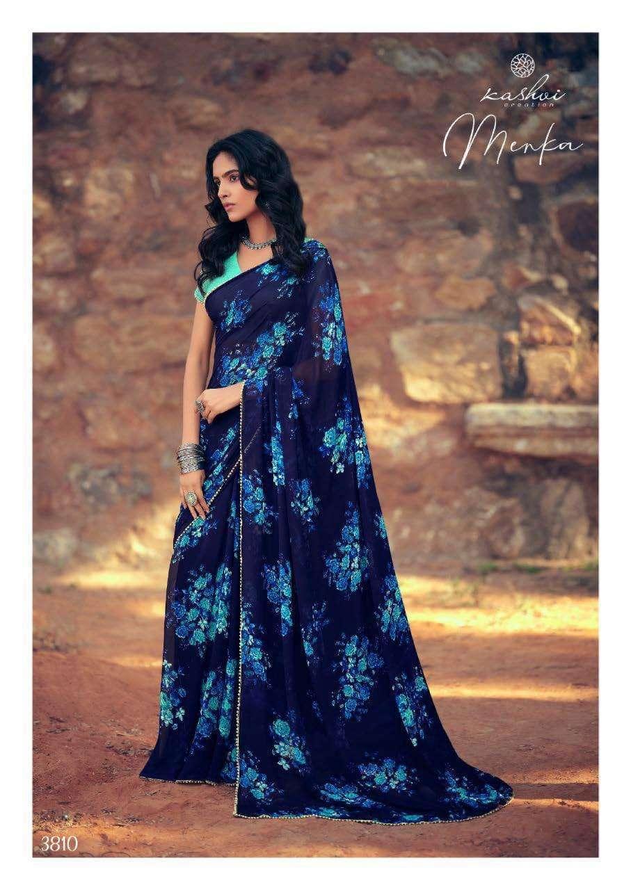 Lt Fabrics Kashvi Menka Georgette With Printed Lace Border Sarees Collection 010