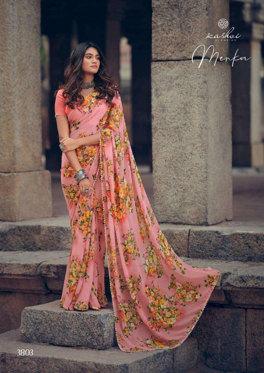 Lt Fabrics Kashvi Menka Georgette With Printed Lace Border Sarees Collection 03
