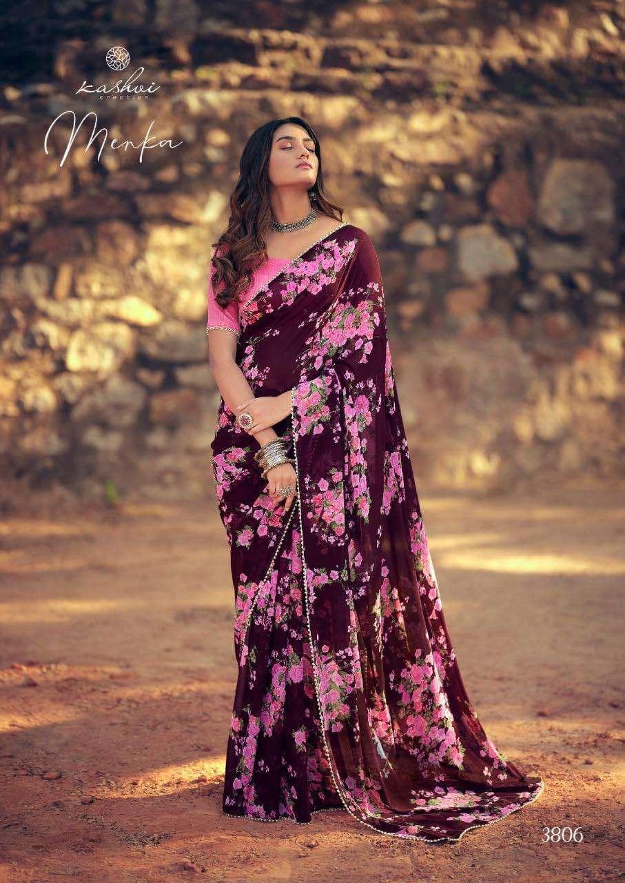Lt Fabrics Kashvi Menka Georgette With Printed Lace Border Sarees Collection 04