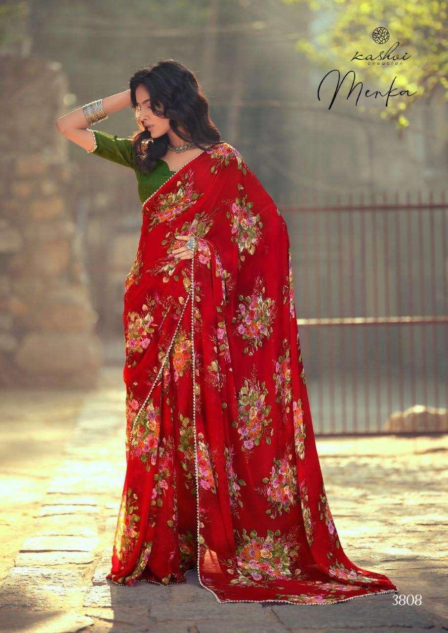 Lt Fabrics Kashvi Menka Georgette With Printed Lace Border Sarees Collection 06