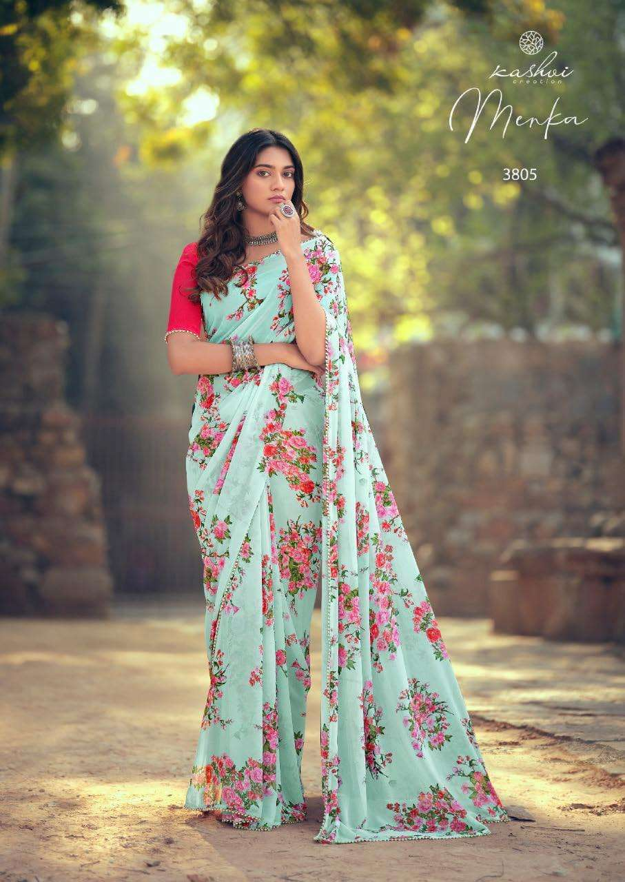 Lt Fabrics Kashvi Menka Georgette With Printed Lace Border Sarees Collection 08