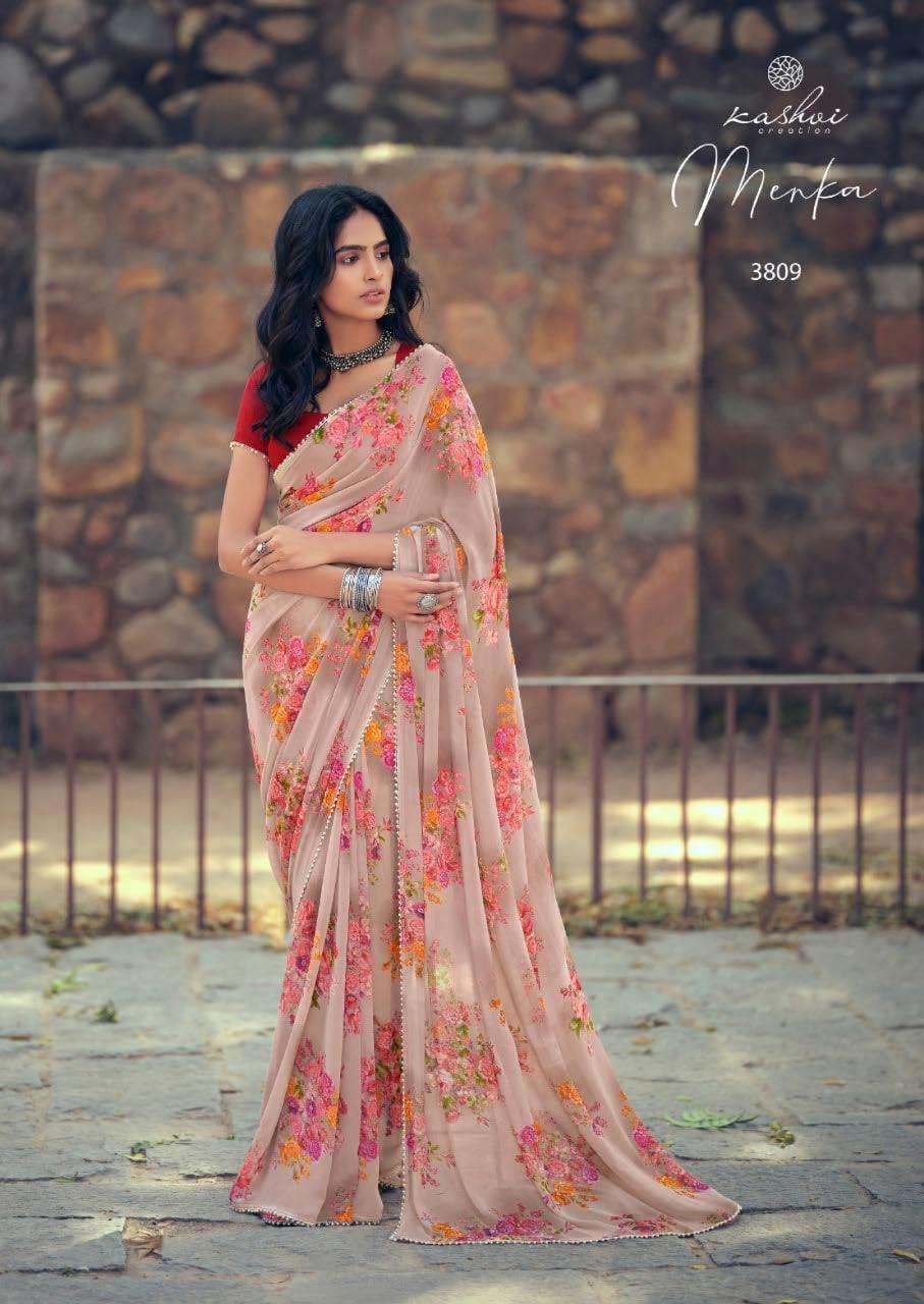 Lt Fabrics Kashvi Menka Georgette With Printed Lace Border Sarees Collection 09