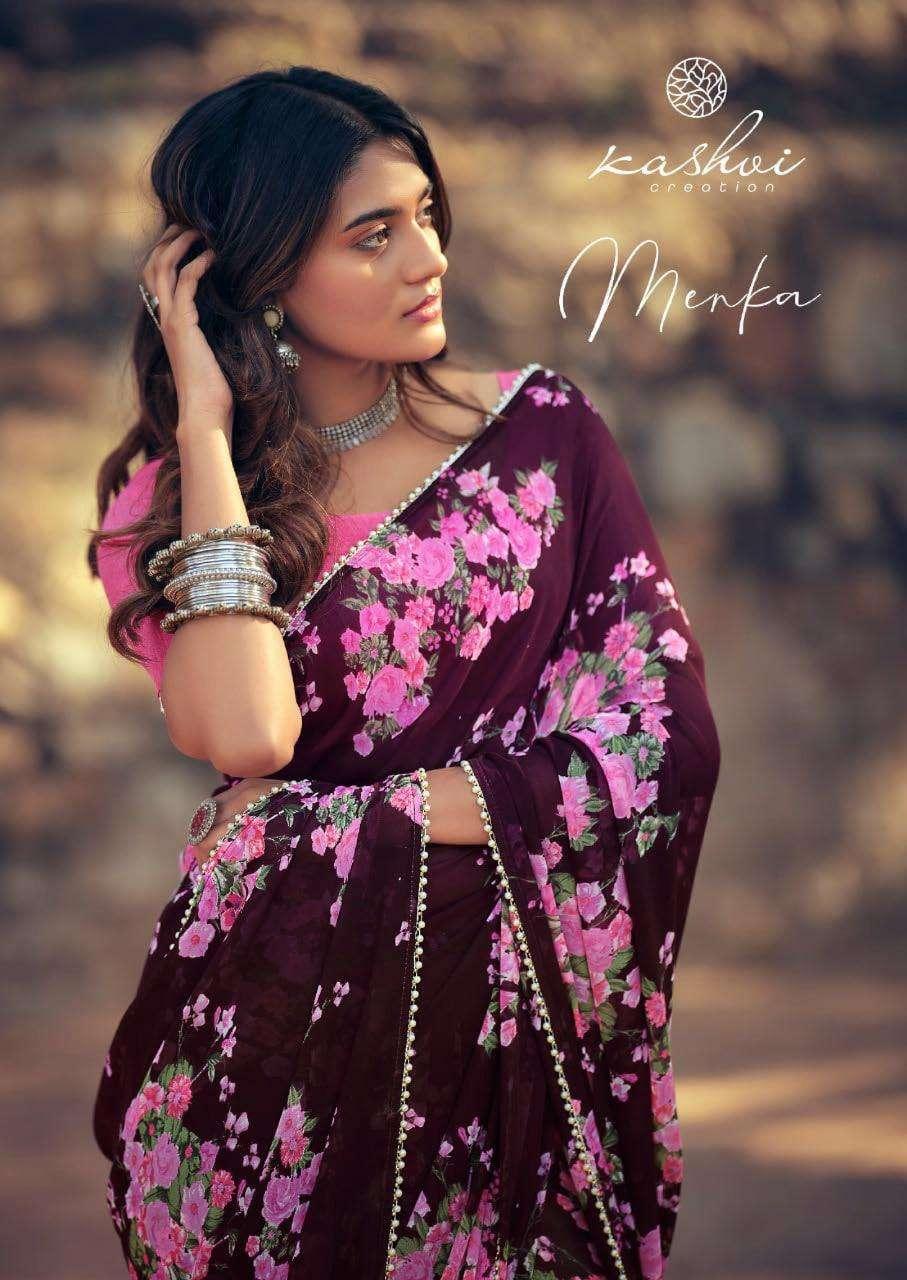 LT Fabrics Kashvi Menka Georgette With Printed Lace Border Sarees Collection