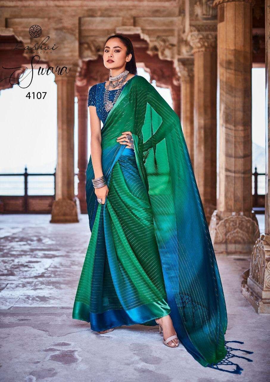 Lt Fabrics Kashvi Swara Rainbow Chiffon With Satin Patta saree collection 05