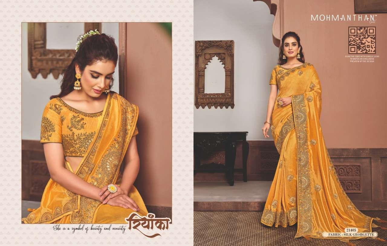 Mahotsav Mohmanthan Gold Sharvari satin georgette designer saree collection 05