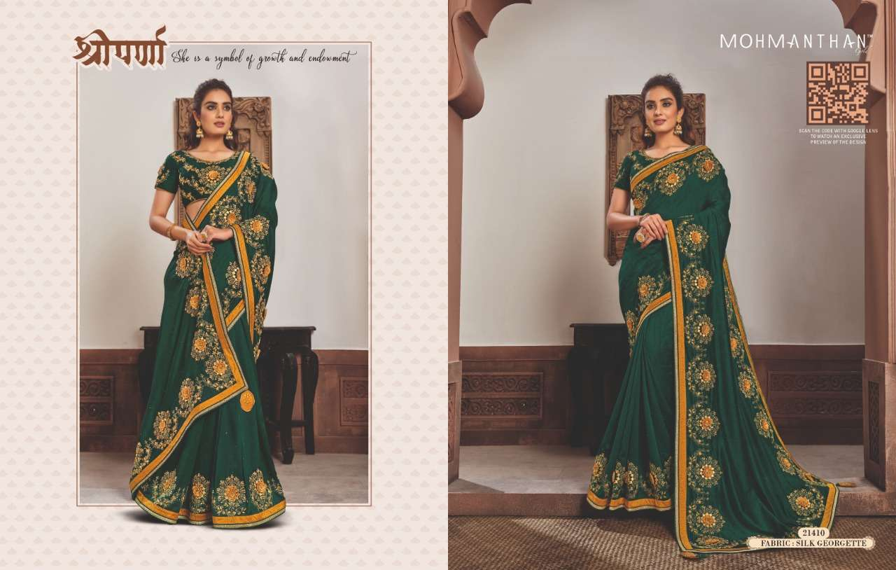 Mahotsav Mohmanthan Gold Sharvari satin georgette designer saree collection 10