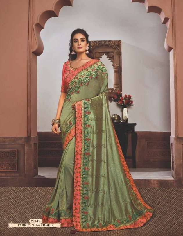 Mahotsav Mohmanthan Gold Sharvari satin georgette designer saree collection 12