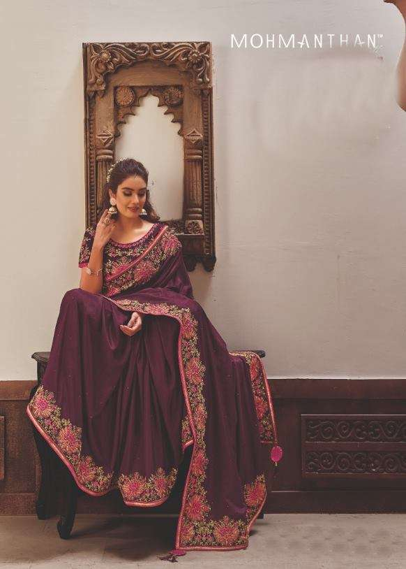Mahotsav Mohmanthan Gold Sharvari satin Georgette Heavy Designer Sarees collection