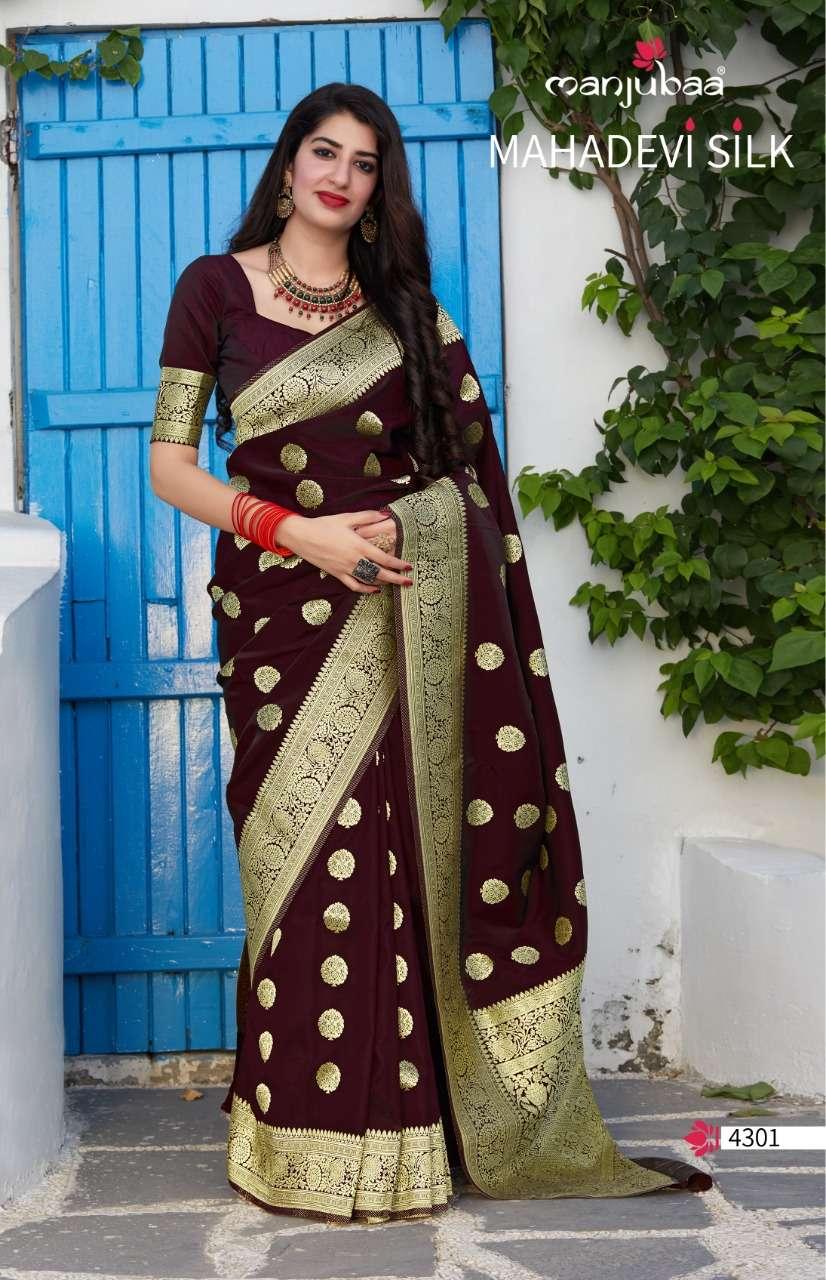 Manjubaa 4300 series soft silk saree collection 03