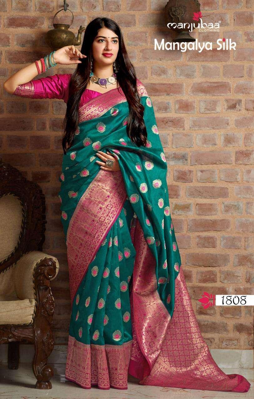 Manjubaa Clothing Mangalya Silk Designer Heavy Banarasi Silk Sarees Collection  09