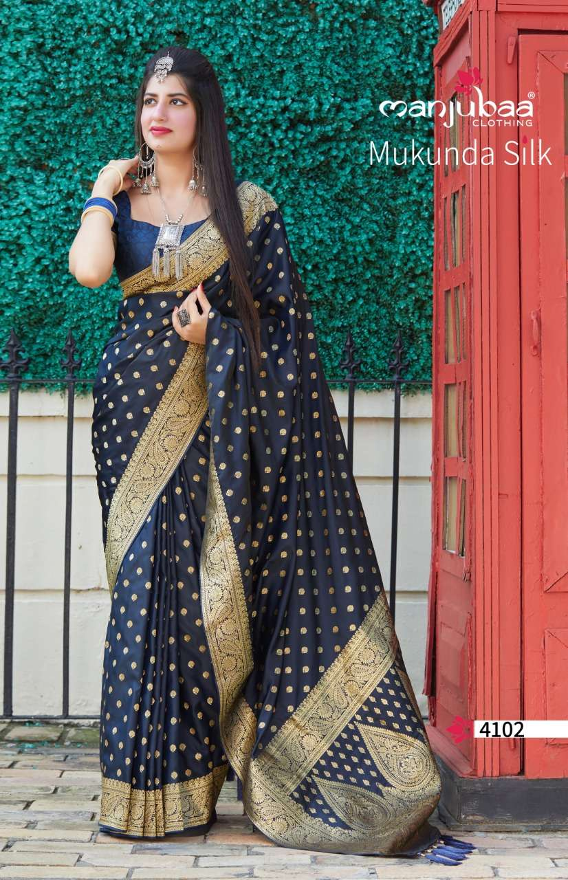Manjubaa Clothing Mukunda Silk Designer Fancy Silk Sarees Collection 02
