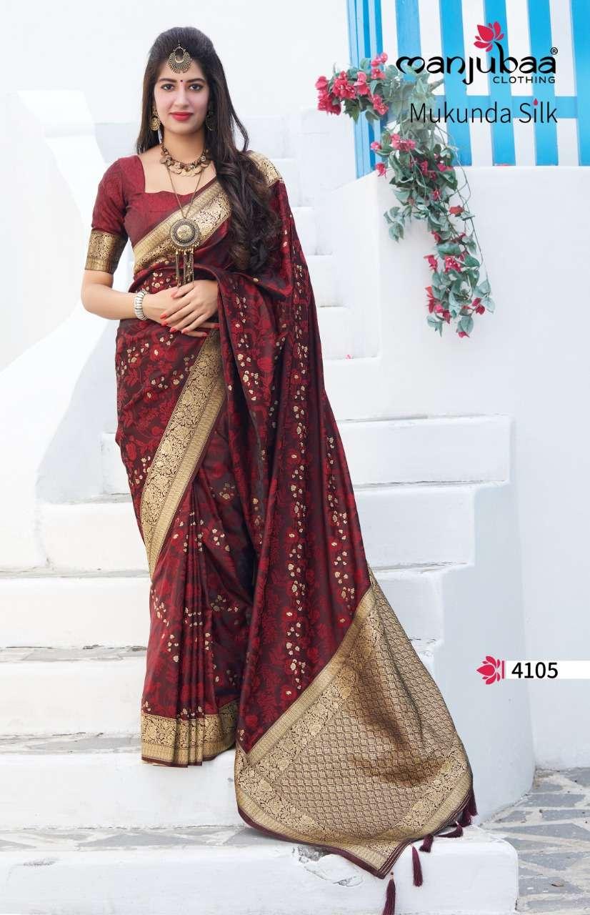 Manjubaa Clothing Mukunda Silk Designer Fancy Silk Sarees Collection 05