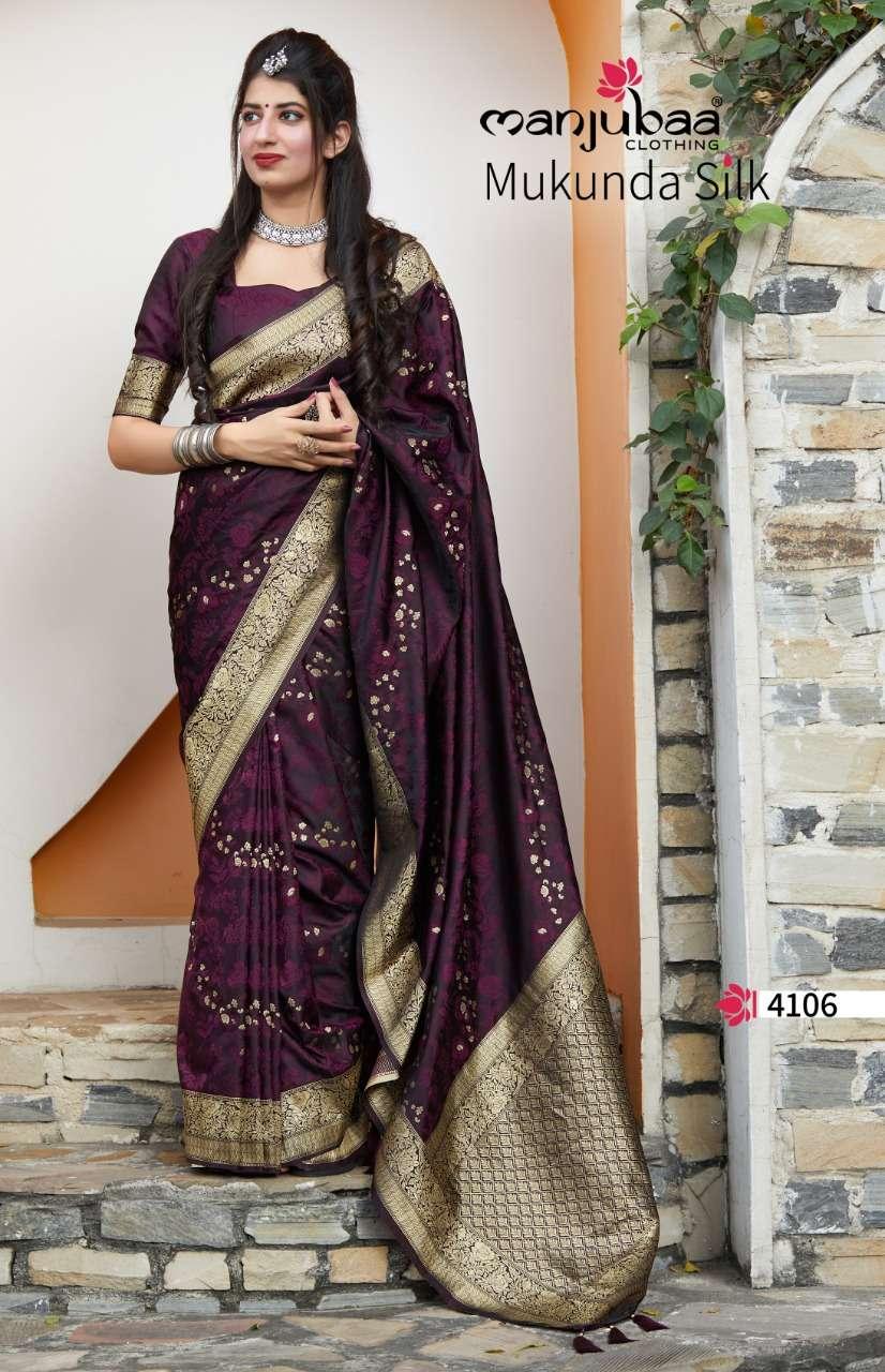 Manjubaa Clothing Mukunda Silk Designer Fancy Silk Sarees Collection 06