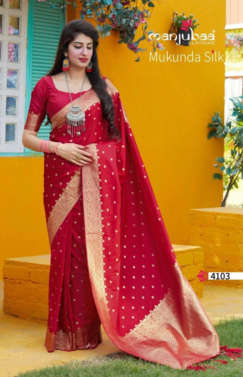 Manjubaa Clothing Mukunda Silk Designer Fancy Silk Sarees Collection 07