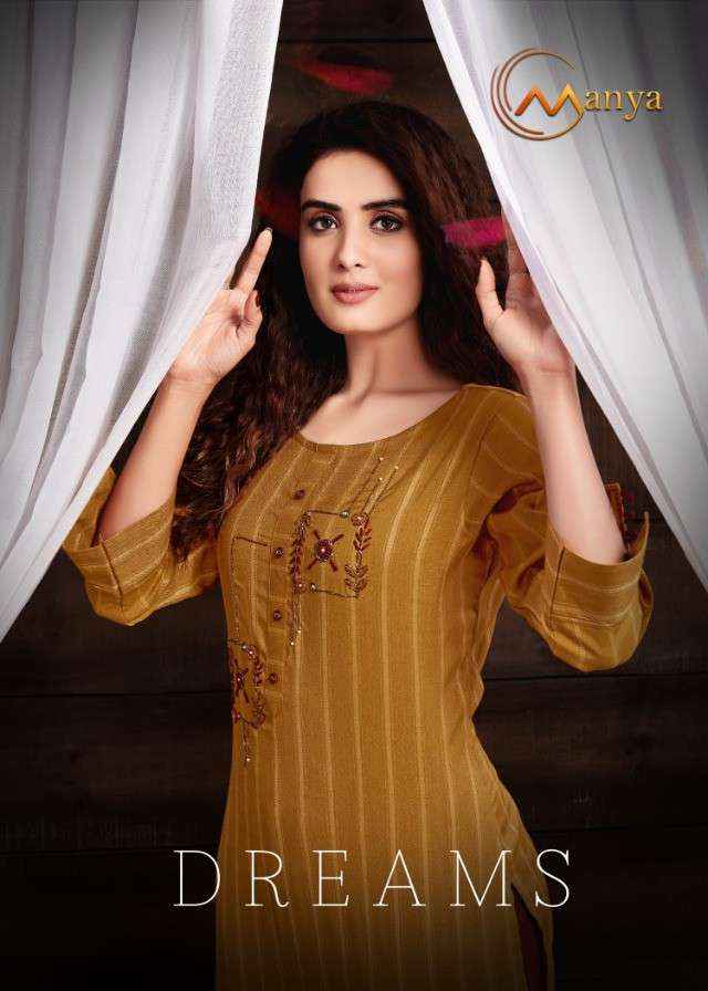 MANYA DREAMS RAYON WITH EMBROIDERY WORK KURTIS WITH PALAZZO COLLECTION