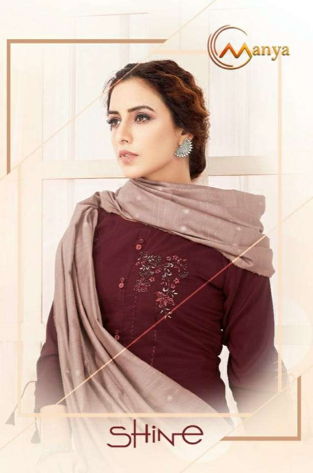 Manya shine Viscose Silk With embroidery Work Kurti With Pant And Dupatta Collection