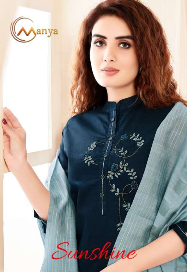 MANYA SUNSHINE COTTON SILK WITH HAND WORK KURTI WITH PANT WITH DUPATTA COLLECTION
