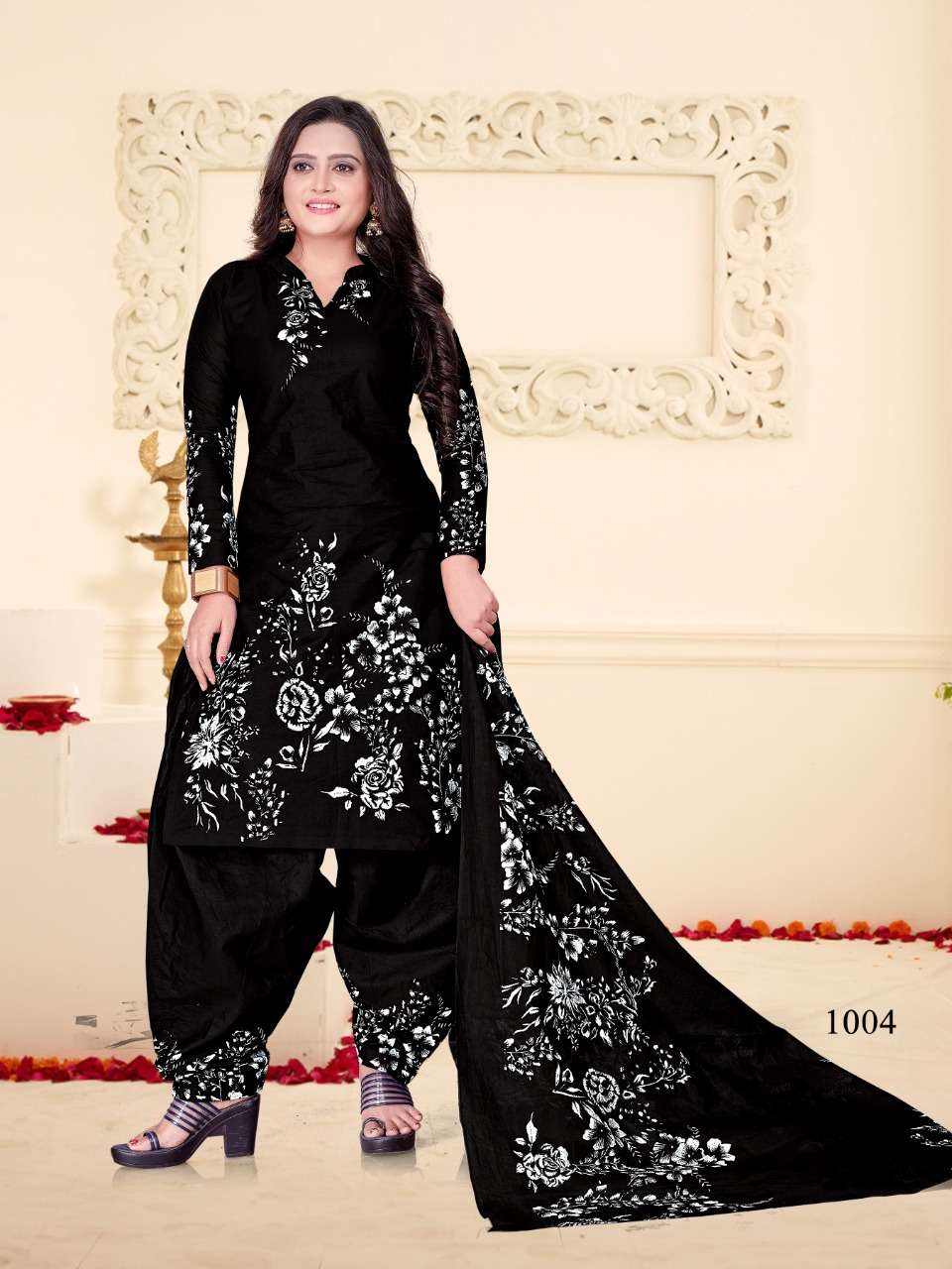 MF Creation Black And White Pure cotton printed Patiyala Dress Material collection