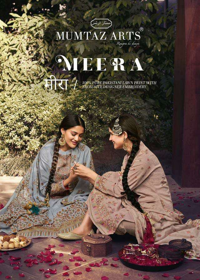 Mumtaz arts Meera Pure lawn Cotton With kani Print With Heavy embroidery Work dress Material Collection
