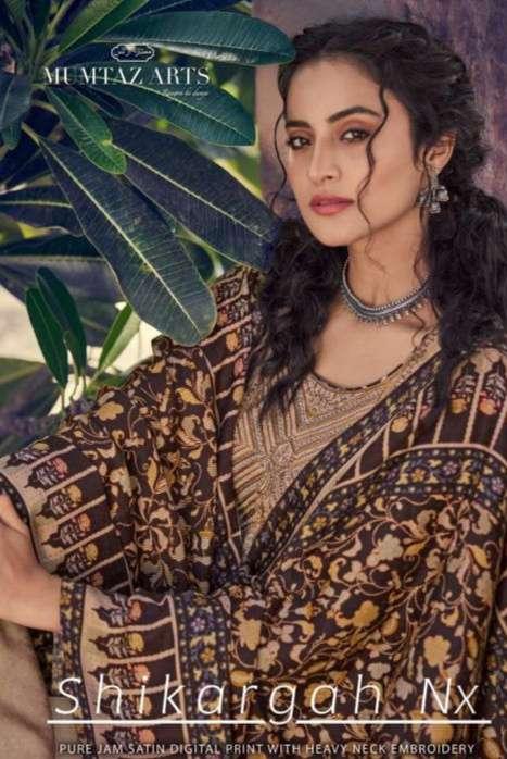 Mumtaz Arts Shikargah NX Jam satin Digital print With kashmiri Embroidery Work Dress Material Collection