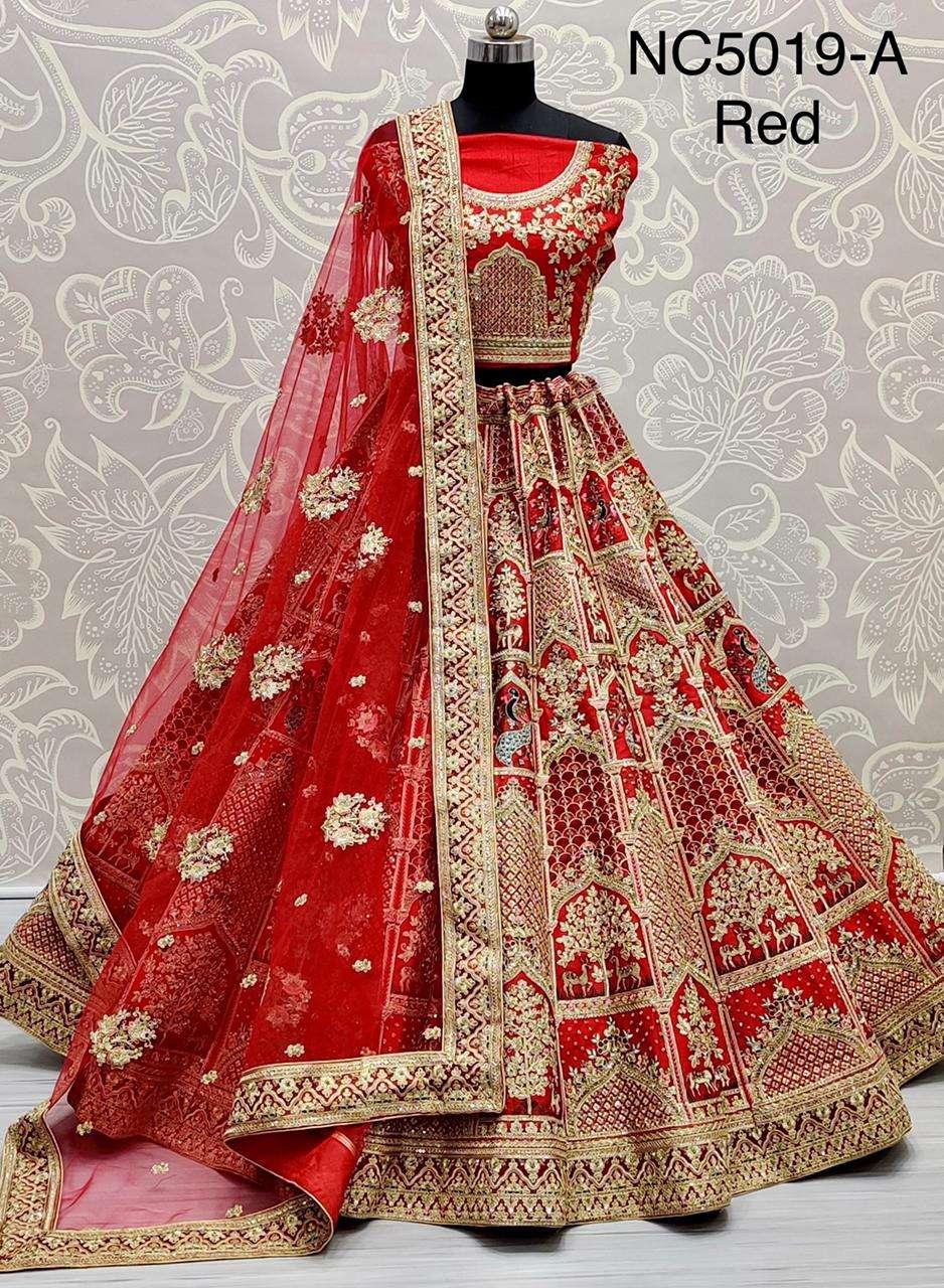 NC5019 slub silk designer bridal wear lehenga choli collection 01