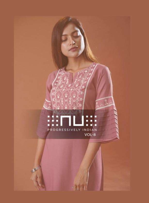 NU Vol 8 Rayon With Embroidery Work Tunic Kurtis Collection