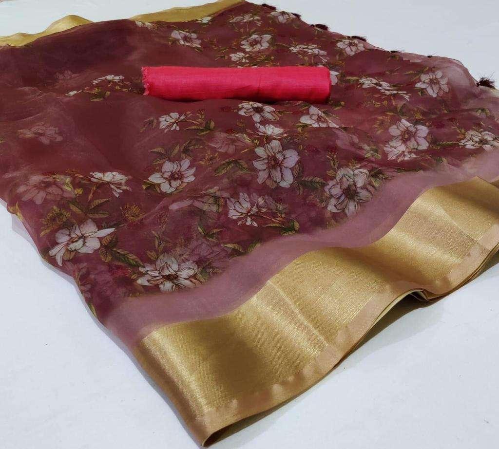 Organza With Weaving Border saree collection 04