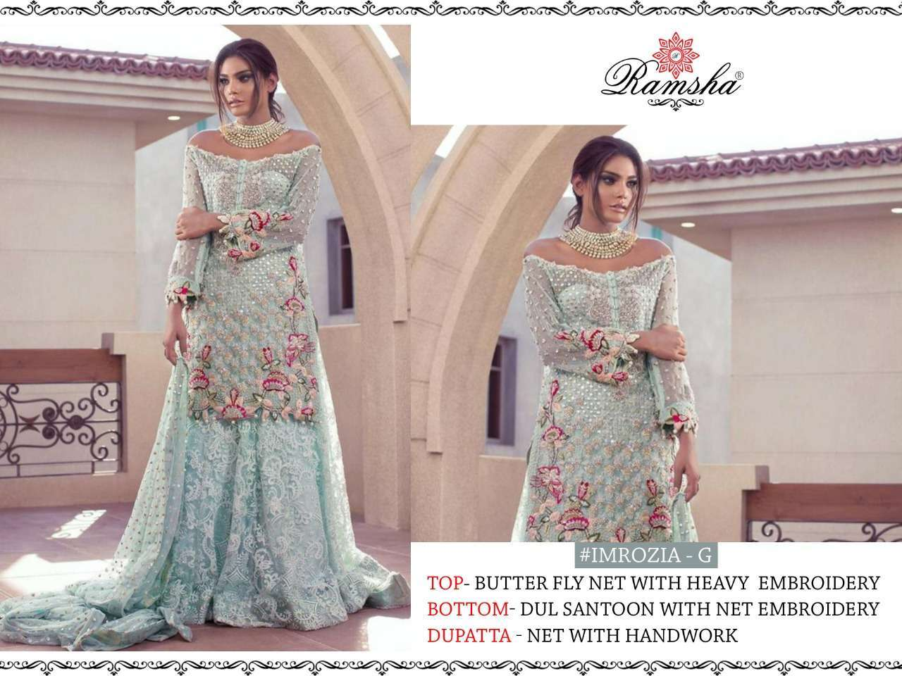 Ramsha Imrozia Nx with embroidery wotk pakisatni suit collection 06